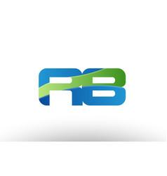 Blue green rb r b alphabet letter logo vector