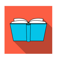 Blue opened book icon in flat style isolated on vector