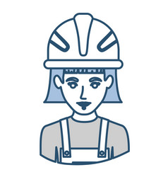 Blue silhouette with half body of female worker vector