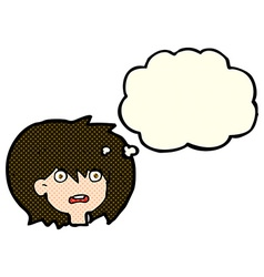 cartoon shocked expression with thought bubble vector image vector image