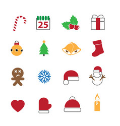 christmas festival icons set vector image