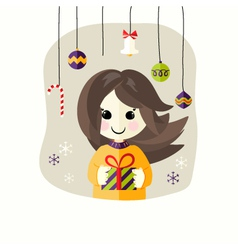 Christmas girl with present box vector