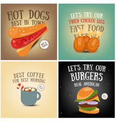 Coffee fast food ice cream posters vector