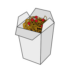 Color image cartoon box with noodles food vector