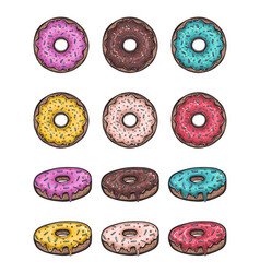 donut set isolated on a white background vector image vector image
