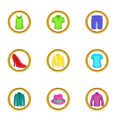Elegant clothes icon set cartoon style vector