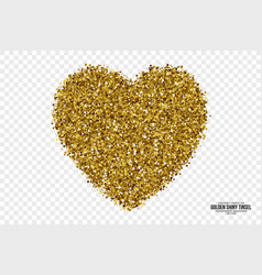 Golden shiny tinsel heart background vector