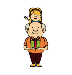 Grandfather sits on shoulders girl together fun vector