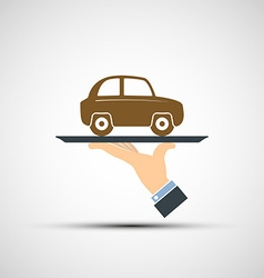 Hand holding a tray with a car vector