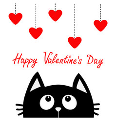 Happy valentines day black cat looking up to vector