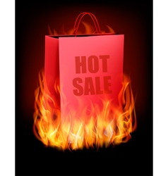 Hot sale background with shopping bag and fire vector image