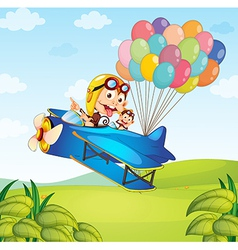 Kids on the plane with balloons vector