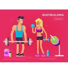 Men and women bodybuilder vector