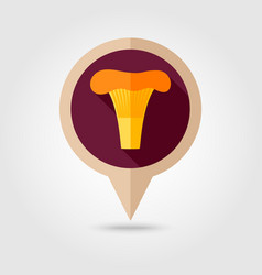 Mushroom flat pin map icon vegetable vector