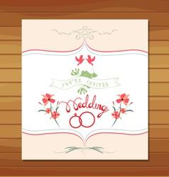 Ornate frame wedding invitation floral retro vector