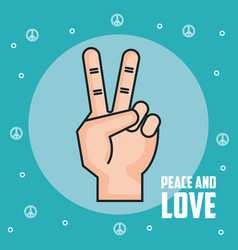 Peace and love hand gesture symbol vector
