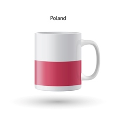 Poland flag souvenir mug on white background vector image vector image