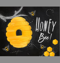 poster honey bee chalk vector image vector image
