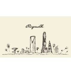 Riyadh skyline drawn sketch vector image vector image