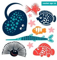 sea creatures for children vector image vector image