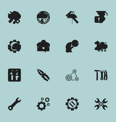 Set of 16 editable tool icons includes symbols vector