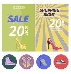 shopping night with big sale in shoes store poster vector image