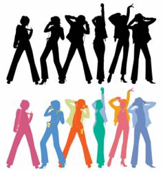 Silhouettes of dancing peoples vector