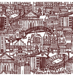 Sketch city seamless pattern vector