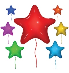 Star balloon color set vector