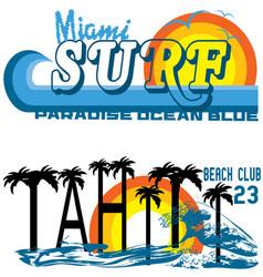 tropical set miami and tahiti vector image