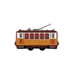 Vintage tram retro tram detailed tram side view vector