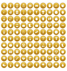 100 garden icons set gold vector