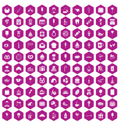 100 sweets icons hexagon violet vector image vector image