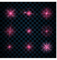 Shine pink stars glitters sparkles vector