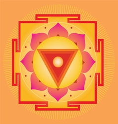 Sacred Geometry orange yantra vector image