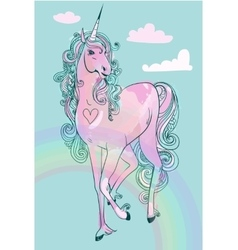 Pink cartoon fairytale unicorn vector