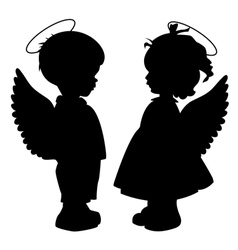Angel silhouettes set vector