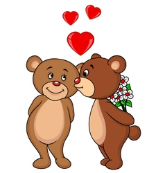 Cute bear couple kissing vector