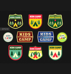 Set of kids adventure summer camp emblem or badge vector
