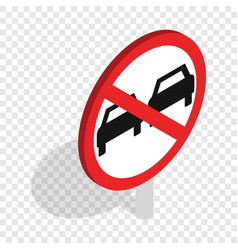 No overtaking sign isometric icon vector