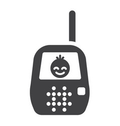 Baby monitor solid icon mobile and child control vector
