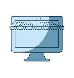 Blue shading silhouette of desktop computer online vector