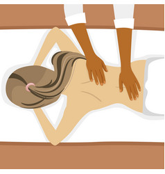 Young woman receiving back massage in spa salon vector