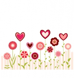 Hearts and flowers vector
