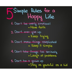 5 rules of happy life vector