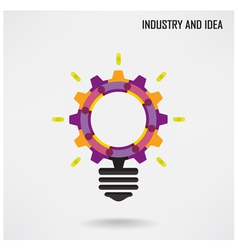 Creative light bulb with industrial concept backgr vector