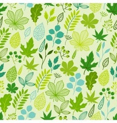 Pattern with stylized green leaves vector