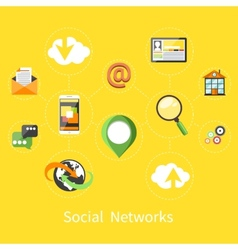 Social networks cloud of application icons vector