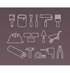 Construction icons working tools and equipment vector