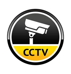 Surveillance camera warning round symbol vector